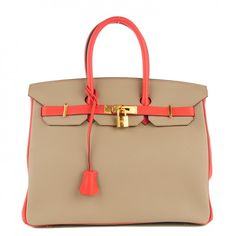 This is an authentic HERMES Togo Bi Color Horseshoe Birkin 35 in Rouge Pivoine andGris Tourterelle. This stunning two tone Birkin handbag is crafted of grained togocalf leather in turtledove grey with bright coral trim.
