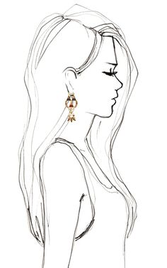 Bochic Hemingway Earrings, great silhouette. I always need a silhouette when Im drawing profile portraits