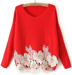 Red Long Sleeve Lace Flower Sweater - Sheinside.com