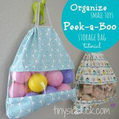 #Storage Solution for Small Toys {Peek-a-Boo Storage Bags Tutorial} #organization #kidspaces #tinysidekick