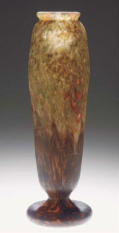 AN ETCHED AND ENAMELLED CAMEO GLASS VASE - DAUM