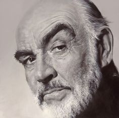 """Sean Connery"" - Sebastian Krüger {hyperreal b+w face portrait painting 007}"