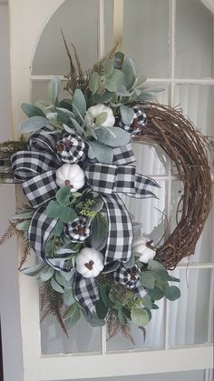 Fall farmhouse wreath farmhouse wreath buffalo check wreath pumpkin wreathfall wreath fall front door wreath black white wreath Fall Ideas and deco Autumn Wreaths For Front Door, Front Door Decor, Door Wreaths, Elegant Fall Wreaths, Rustic Wreaths, Ribbon Wreaths, Burlap Wreaths, Fall Front Doors, White Wreath