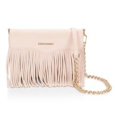 "Rebecca Minkoff Universal Phone Fringe Crossbody This fringe crossbody is a must for going out/traveling! Fits iPhone 6/6s, Galaxy S6 and most smartphones up to 5.1# screens. New in box. Purchased at a boutique that doesn't accept returns (I have iPhone 6+). Genuine leather, 4""W x 6.7""H x 1.3""D 24"" removable crossbody chain stap Main magnetic flap closure One interior mesh ID slip pocket Two interior slip pockets One interior zipper change pocket Custom light gold hardware Rebecca Minkoff…"
