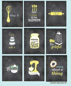 Chalkboard Inspired Art, Mixer, Monogram, Salt and Pepper, Funny Kitchen Art Prints