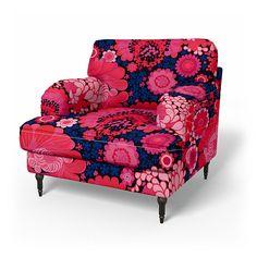 Stocksund, Armchair Covers, Armchair, Regular Fit using the fabric Jardin Exochic Mediterranée