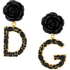 Dolce & Gabbana rose and logo drop earrings ($623) ❤ liked on Polyvore featuring jewelry, earrings, black, rose gold tone jewelry, summer earrings, rose stud earrings, rose earrings and floral jewellery