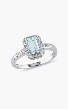 Aquamarine & Diamond Emerald-Cut Ring. This would be the most color I would want. Beautiful