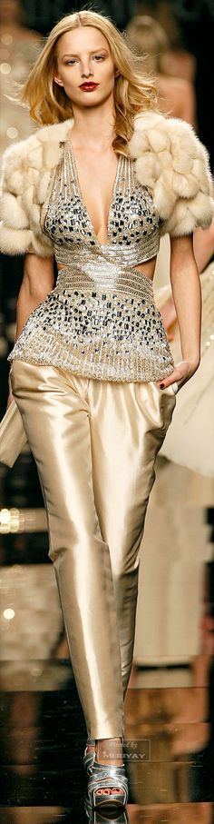 """Zuhair Murad. """"love it! gorgeous pale champagne with silver. We adore blending warm and cool like this. My vote for best fashion pic of the week."""" DesignNashville."""