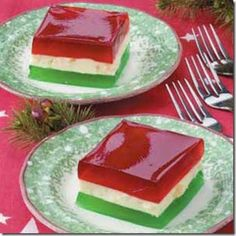 Christmas Ribbon jello salad---My mom made this every Christmas!! Many funny stories attached to this salad!