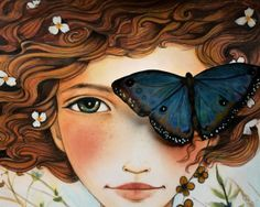 girl with  blue morpho... by claudiatremblay on Etsy, $20.00