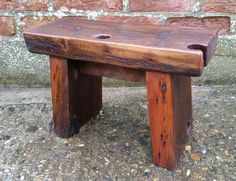 Handmade Rustic Wooden Footstool - Reclaimed Pine #Unbranded #Country