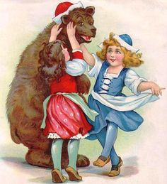 Bear and Girls by Frances Brundage Picture on Stretched Canvas, Wall Art Decor, Ready to Hang! Grimm, Victorian Party, Little Girl Dancing, Gif Animé, Shabby Cottage, Vintage Ephemera, Picture Design, Clipart, Retro