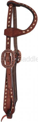 Brown Rough Out Buckstitched Single Ear Headstall - H604
