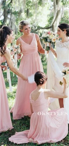 A-line Floor-length V-neck Sleeveless Long Pink Chiffon Bridesmaid Dre – Okstyles Affordable Bridesmaid Dresses, Long Bridesmaid Dresses, Wedding Dresses, Bridesmaids, Custom Dresses, Famous Brands, Dream Dress, Dress Making, Shoulder Dress