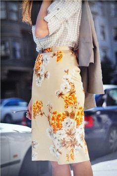 gorgeous vintage skirt, updated by an unexpected blouse