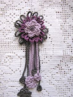 Crocheted brooch in lilac and grey - crocheted flowers, pin