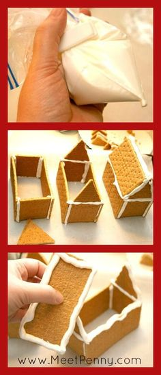 Using graham crackers to build a gingerbread house . Looks easy.