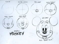 How to draw Mickey Mouse head Step by step instructions