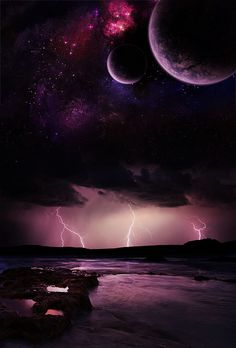 Turbulence by Emerald-Depths on DeviantArt Planets Wallpaper, Galaxy Wallpaper, Beautiful Moon, Nocturne, Fantasy World, Outer Space, Night Skies, Cosmos, Mother Nature