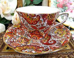 Rosina Tea Cup and Saucer Chintz Paisley Floral Teacup