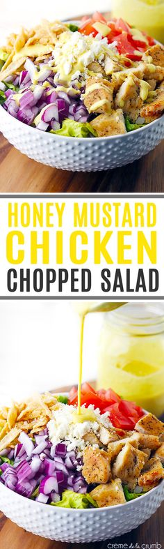 A quick and delicious chopped salad with seasoned chicken, feta cheese, crispy wonton strips and topped with a (secretly skinny) creamy honey mustard dressing. (fried chicken recipes with mustard) Healthy Salads, Healthy Eating, Healthy Recipes, Honey Mustard Chicken, Wonton Strips, Crispy Wonton, Crispy Chicken, Soup And Salad, Salad Bar