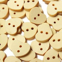 10 Natural Wooden Heart Buttons | 13mm by BeadsBitznBopz on Etsy