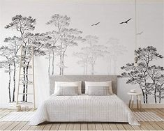 Are Wall Murals the New Wall Paper? 12 Monochrome Murals I& Loving Right Now Are Wall Murals the New Wall Paper? 12 Monochrome Murals I'm Loving Right NowNow, you know I've been a fan of wallpaper now for years. Nursery Wall Stickers, Kids Wall Decals, Wall Stickers Home Decor, Mural Floral, Floral Wall, Black And White Abstract, Black White, Bedroom Murals, Nursery Wall Murals