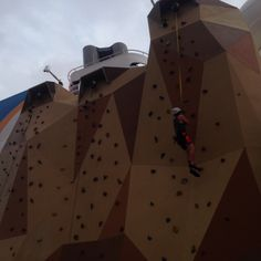 Quantum of the seas April 12-24-2015 Caribbean cruise.  ROCK CLIMBING WALL. Katie and Dean