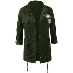 LE3NO Womens Studded Military Anorak Jacket (€23) ❤ liked on Polyvore featuring outerwear, jackets, military style jacket, anorak jacket, green anorak coat, fashion military jacket and studded jacket