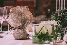 See Full Post Photography by Pahountis Photography Pomegranate Wedding, Burlap Wedding Favors, Centerpieces, Table Decorations, Christmas Wedding, Wedding Inspiration, Wedding Ideas, Place Cards, Olive Tree