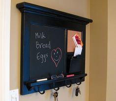 Bulletin Board - Chalk Board Keyhook Message Center with Mail Slot - etsy
