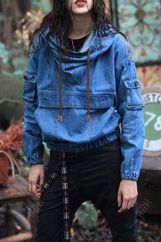 Embroidered Denim Hoodie - DENIM BLUE XS