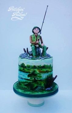 Handpainted fishing cake