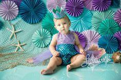 Mermaid 1st Birthday Cake Smash Photo and Props by Lightwork Photography Mermaid Costume / Mermaid Tutu Dress / Mermaid Outfit: www.bellethreads.com