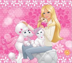 barbie wallpaper chihuahua dog Lacey poodle Sequin and Kitten Kitty Cat Barbie Painting, Barbie Drawing, Barbie Decorations, Barbie Celebrity, Barbie Cartoon, Barbie Images, Barbie Birthday, Barbie Doll House, Barbie Movies