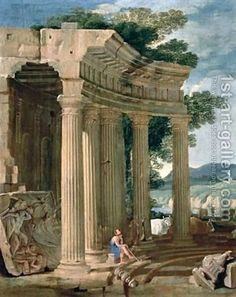 Landscape with ruins and a shepherd by Jean Lemaire