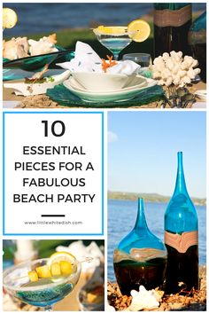 Our inspiration came from the beach front, ocean view of the pacific. Our tableware and decor will take guess on a journey through sand and salt water. Beach Table Settings, White Dishes, Little White, Beach Party, Beach Themes, Drinkware, Tablescapes, Dinnerware, Party Themes