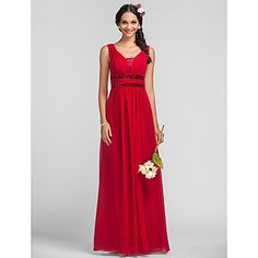 Sheath/Column Straps Floor-length Chiffon Bridesmaid Dress(568049) – EUR € 107.24