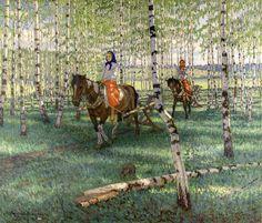 To work, 1921, Nikolay Bogdanov-Belsky. #russia #art #drawing #bogdanov-belsky