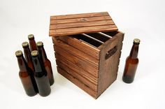 Six Pack Beer Bottle Crate with Lid - Handcrafted - Rustic - Holds 6 Pack 12 oz  Longneck or Shortneck Beer - Stained
