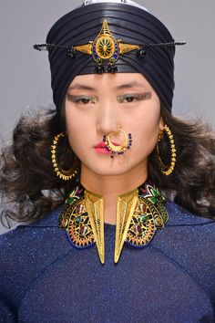 Amrapali/Manish Arora turban jewels, Orion earrings, nose ring and jewelled geometric necklace.
