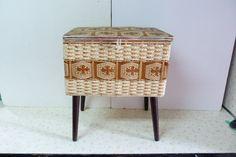 Vintage Mid Century Modern Wicker Sewing Basket by RavishingRetro, $45.00