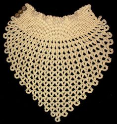 (4) Name: 'Crocheting : Shawl Collar with buttons - lacy crochet