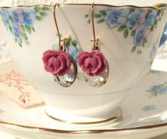 Two of the prettiest vintage glass jewels hang so lovely together with little plum roses..