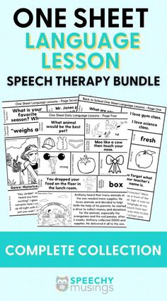 Looking for a no-prep material to use with your entire middle school or upper level speech therapy caseload? This product targets: conversation skills, grammar, figurative language, vocabulary, compare/contrast, narratives, prefixes, suffixes, sequencing, inferences, story comprehension, problem solving, story development/creation, WH questions and more! This resource is the complete one sheet language collection! Language Lessons, Language Activities, Speech And Language, Speech Delay, Articulation Therapy, Receptive Language, Wh Questions, Schools First, Speech Therapy Activities