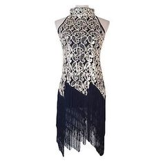 1920 s Vintage Great Gatsby Sleeveless Deco Party Sequin Tassel Dress FBE FN687 | eBay