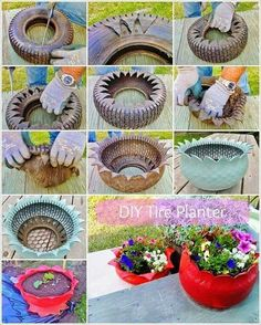 Do you might have an previous tire mendacity in your house that's of no use to you? If sure then give it a second life as a planter. To make a tire planter first rigorously make cuts within the previous tire in a zigzag method with a pointy knife as … Tire Planters, Concrete Planters, Garden Planters, Cement Garden, Garden Crafts, Garden Projects, Garden Ideas, Tire Craft, Reuse Old Tires