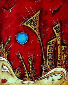 Abstract City Cityscape Art Original Painting Stand Tall By Madart