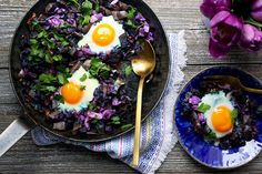 Brilliant in both color and flavor, this hash is full of vibrant vegetables and herbs. Purple potatoes and cabbage are roasted first for extra flavor, and a sprinkling of Parmesan adds a cheesy, savory element to the hash.